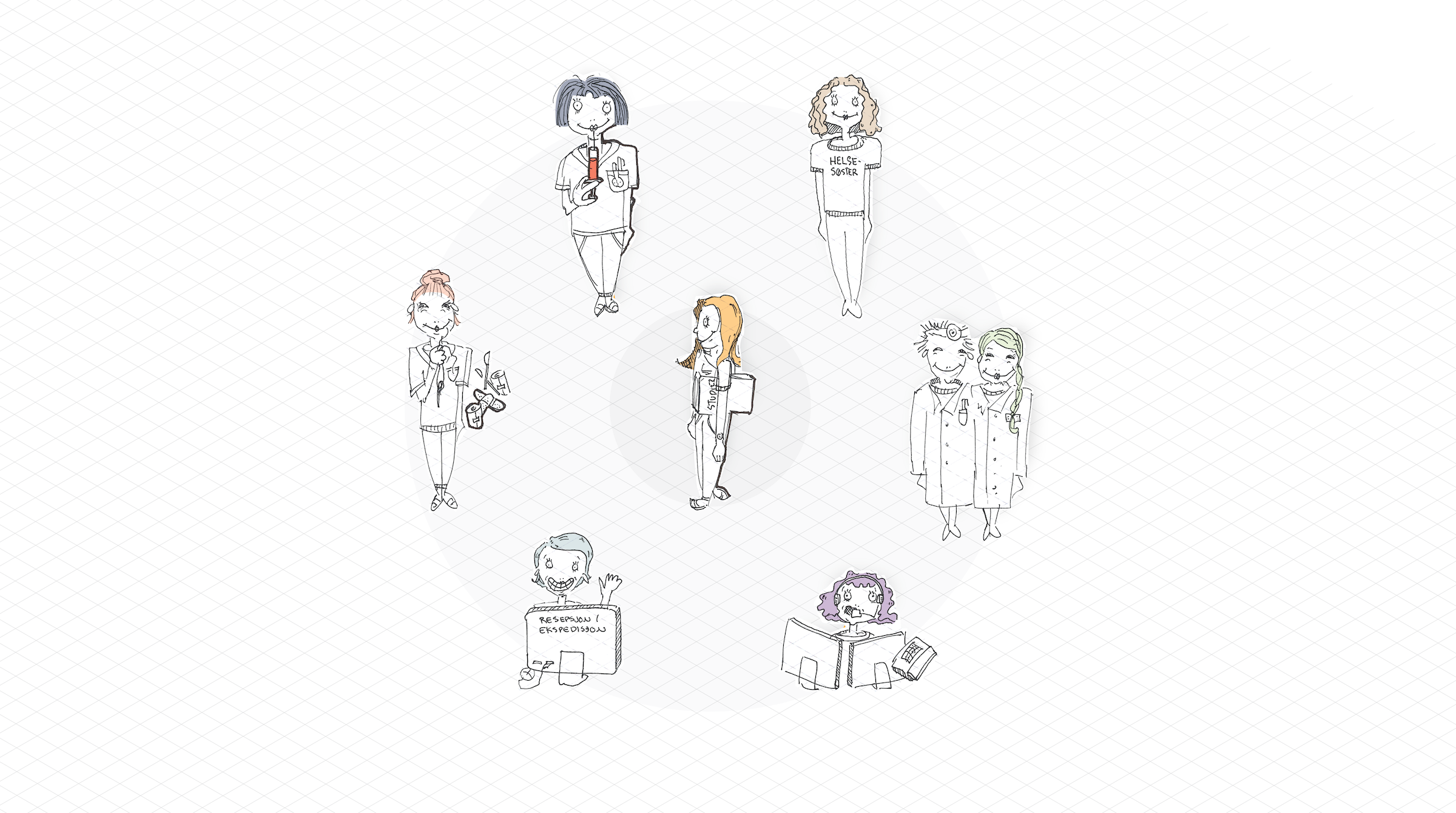 Illustration of patient surrounded by different actors in the health service